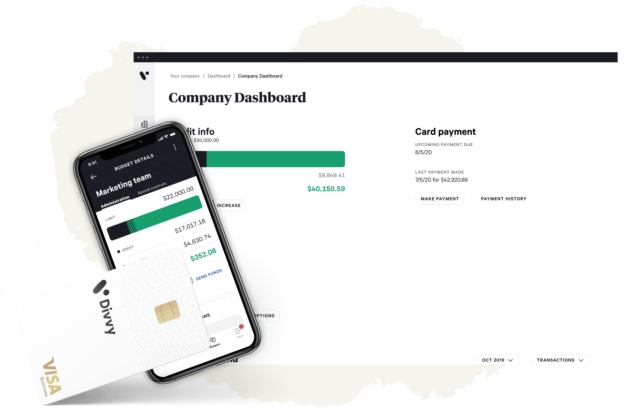 divvy on phone and browser with card