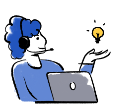 illustrated woman with a laptop and light bulb